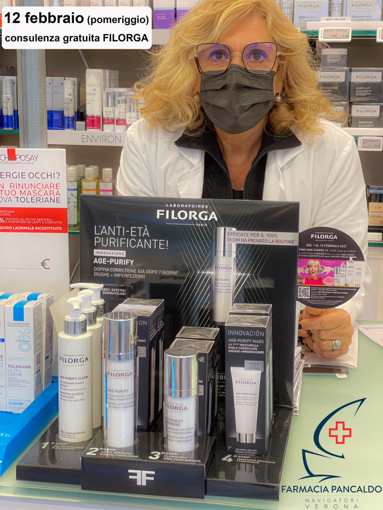Venerdi 12 Febbraio per tutto il pomeriggio Farmacia Pancaldo ti offre una consulenza personalizzata FILORGA.
