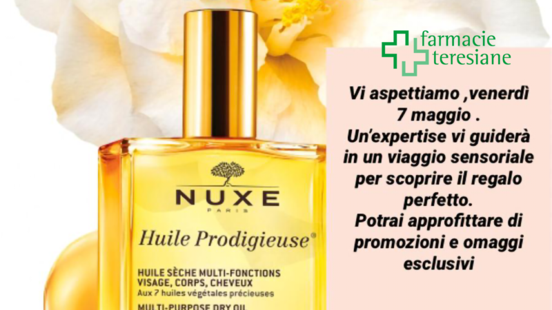 Venerdì 07 maggio dalle ore 15 Federica Amaglio, Nuxe expertise, vi accompagnerà alla scoperta delle esclusive fragranze e texture dei prodotti per il viso e per il corpo Nuxe.